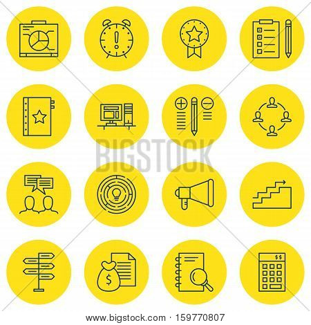 Set Of 16 Project Management Icons. Can Be Used For Web, Mobile, UI And Infographic Design. Includes Elements Such As Teamwork, Announcement, Date And More.