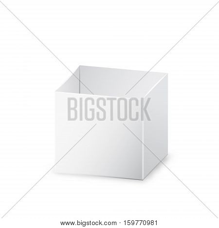 White opened realistic box 3d vector illustration with shadow on white background eps 10