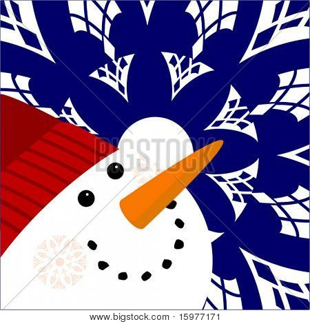 happy snowman with snowflakes (full snowflake on left cheek)