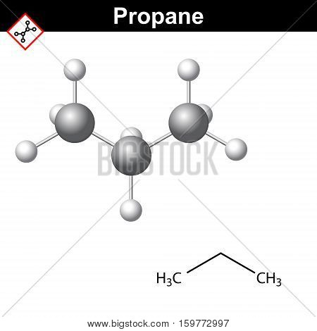 Propane chemical natural gas component chemical and molecular structures 2d and 3d vector illustration isolated on white background eps 10