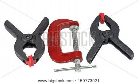 the big c clamps on white background