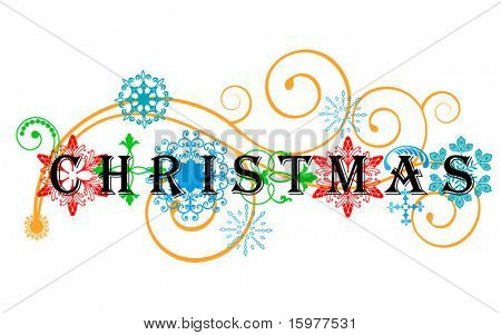 word christmas with funky design