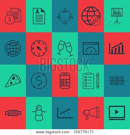 Set Of 20 Universal Editable Icons. Can Be Used For Web, Mobile And App Design. Includes Elements Such As Loading Speed, World, Analytics And More.