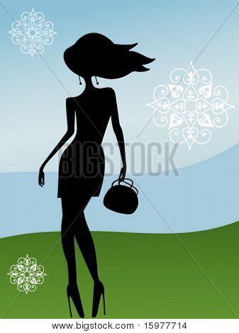 menina com bolsa e flocos de neve estilizados