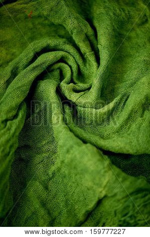 Textured, twisted into a flower gauze. Green Close