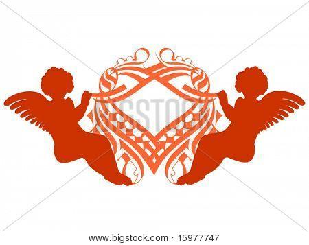 cherub with ornate heart