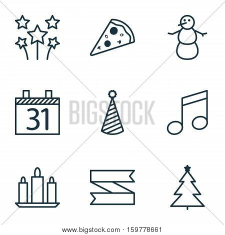 Set Of 9 Celebration Icons. Can Be Used For Web, Mobile, UI And Infographic Design. Includes Elements Such As Flame, Winter, Music And More.