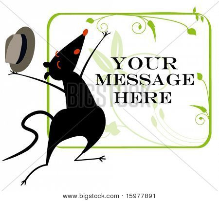 Mouse with tophat announcement banner (use together of separately)