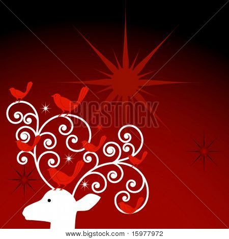 reindeer with birds in antlers