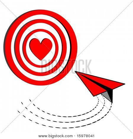 target with heart in center and paper airplane turning