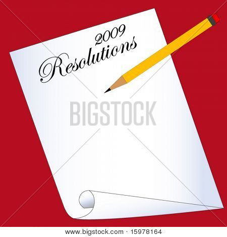 new years resolutions blank sheet with pencil