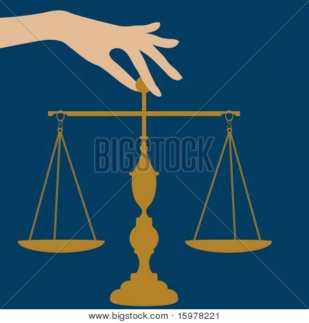 scales of justice with hand