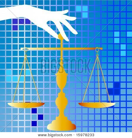 scales of justice held by hand