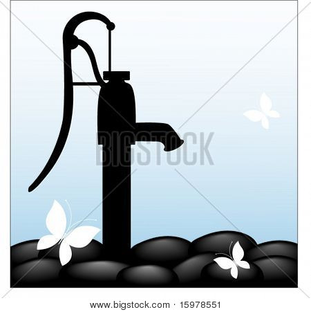 water pump with rocks and butterfly