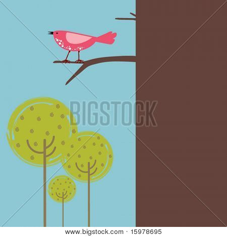 pájaro en el árbol con el espacio de la copia
