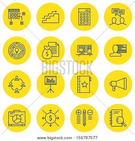 Set Of 16 Project Management Icons. Can Be Used For Web, Mobile, UI And Infographic Design. Includes Elements Such As Idea, Statistic, Schedule And More.