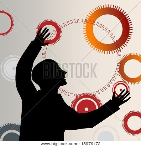 man reaching juggling gears