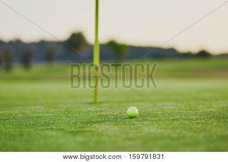 Closeup Of Golf Ball On Green