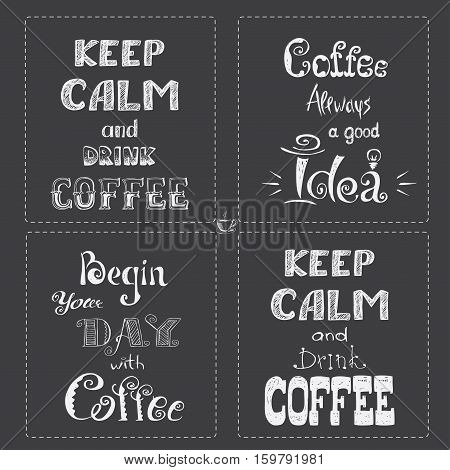 Set Coffee banner or typography, lettering hand drawn, chalkboard, gray background, stock vector illustration.