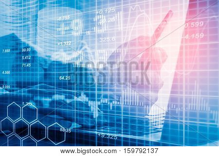 Stock Market Indicator And Financial Data View From Led. Double Explosure Financial Graph And Stock