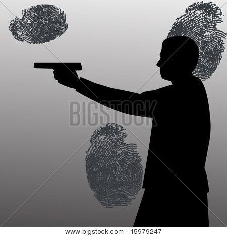 Mann mit Gewehr und Fingerabdrücke