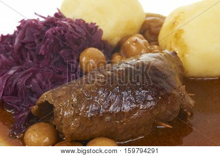 Traditional Bavarian Meal With Beaf And Potato Dumpling