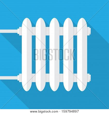 Heating radiator. Cast-iron radiator for heating systems. on a blue background with long shadow. Vector illustration.