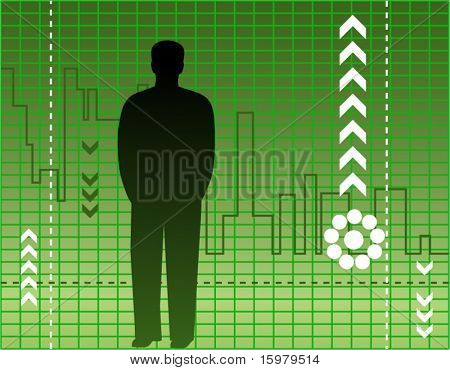 man with chart in green