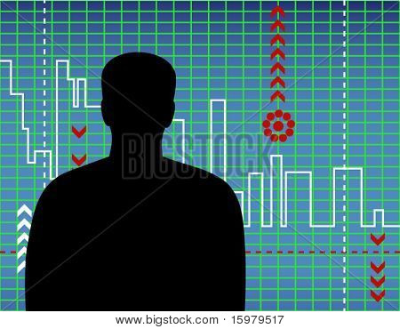 man with chart in blue