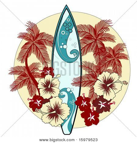 surfboard with palmtrees and hibiscus