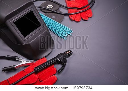Welding equipment, welding mask, protective leather gloves, welding electrodes, high-voltage wires with clamps, cutting disc for grinder, set of accessories for arc welding