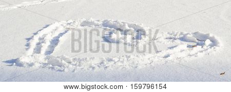 n winter you can draw on the snow here drawn heart symbol of love