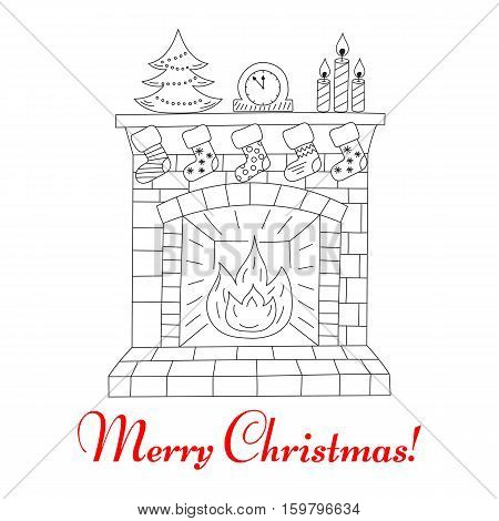 Christmas fireplace and socks, hand drawn line vector illustration. Merry Christmas vintage greeting card.