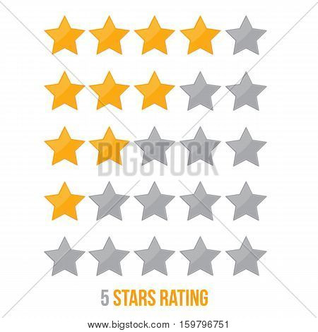 Simple star rating. With shadows makes the stars pop out from background and gray stars