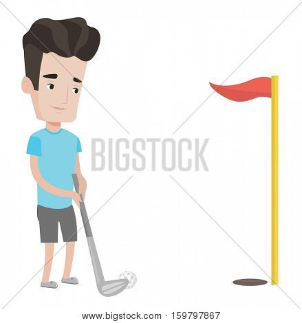 Young golfer hitting the ball in the hole with red flag. Professional golfer on golf course. Young caucasian golfer playing golf. Vector flat design illustration isolated on white background.