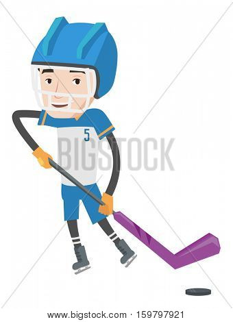 Young ice hockey player skating on rink. Ice hockey player with a stick and puck. Caucasian ice hockey player playing ice hockey. Vector flat design illustration isolated on white background.