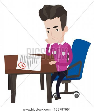 Sad young student looking at test paper with bad mark. Student disappointed test with F grade. Student dissatisfied with the test results. Vector flat design illustration isolated on white background.