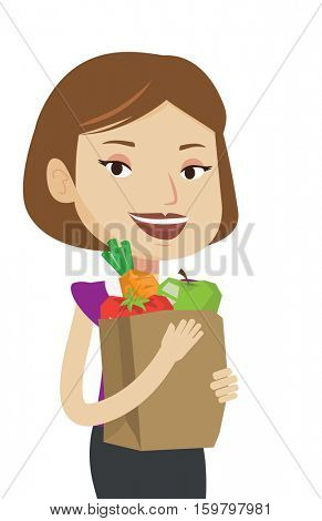 Woman carrying grocery shopping bag with vegetables. Woman holding grocery shopping bag with healthy food. Girl with grocery shopping bag. Vector flat design illustration isolated on white background.
