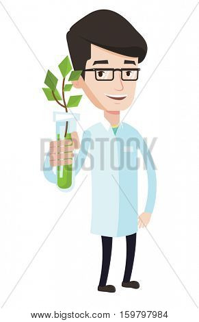 Scientist holding test tube with plant. Scientist analyzing plant in test tube. Scientist in medical gown showing test tube with plant. Vector flat design illustration isolated on white background.