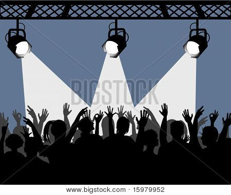 overhead lights with beam and audience below cheering