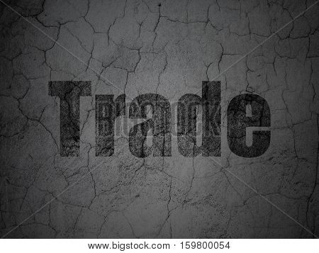 Business concept: Black Trade on grunge textured concrete wall background