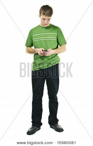 Young Man Texting On Cell Phone