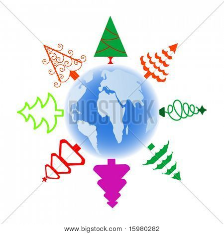 christmas tree icons over globe