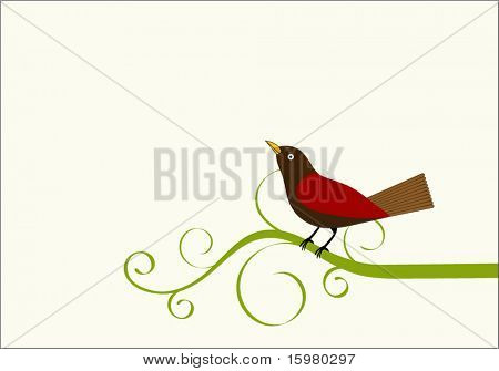 Bird on a vine with copyspace