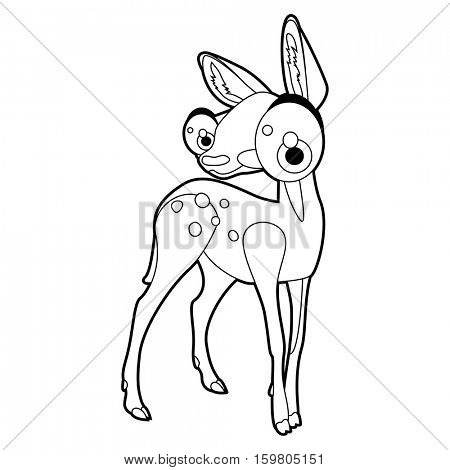 Coloring book page. Funny cartoon comic cool nice animals. Roe