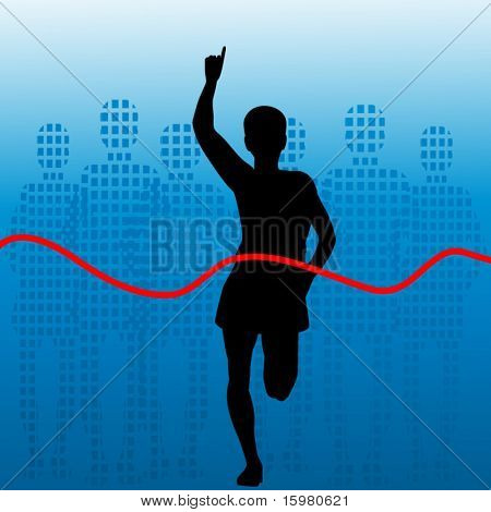 silhouette of runner finishing first