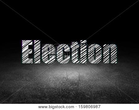 Political concept: Glowing text Election in grunge dark room with Dirty Floor, black background