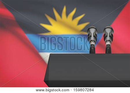 Pulpit And Two Microphones With A National Flag On Background - Antigua And Barbuda