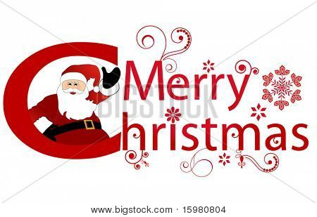 merry christmas message with santa waving
