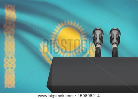 Pulpit And Two Microphones With A National Flag On Background - Kazakhstan